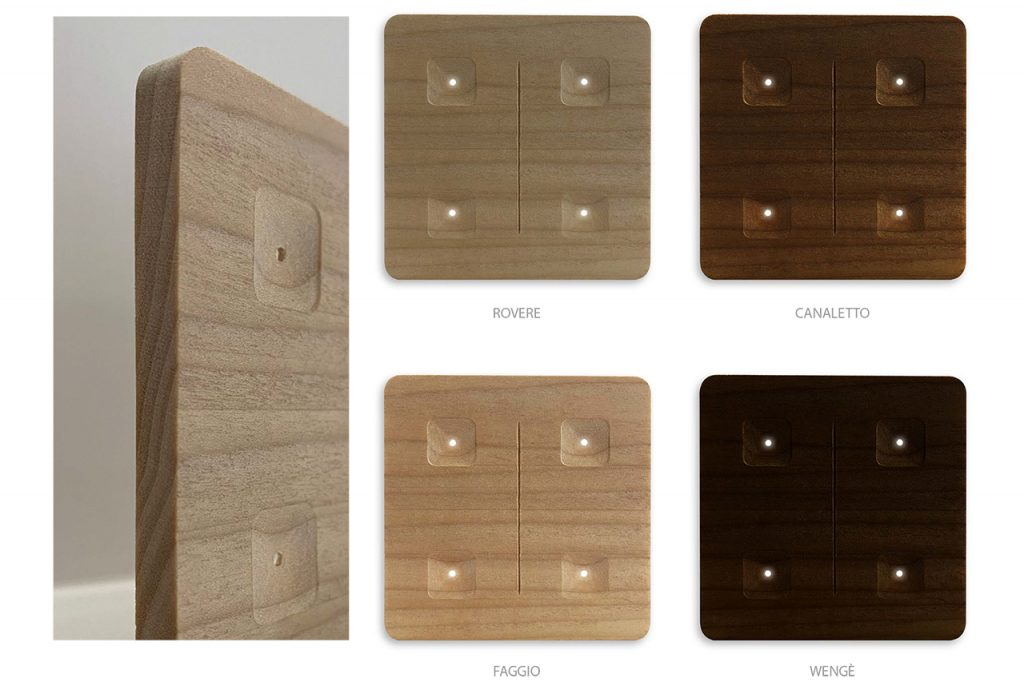 Essenze di legno disponibili per Amalfi series switches - wood design